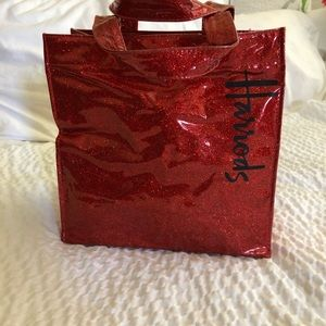 Harrods Red Glitter Vinyl Small Tote